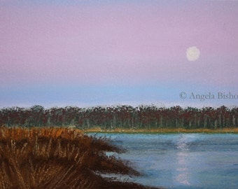 Sunset Painting Print, Art Print, Pastel, Home Decor, Reproduction, Giclee, 5 x 7, Evening, Reflection, Sunset, Water, Landscape, Moon