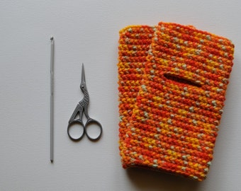 Fingerless gloves - orange melange