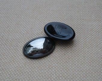 6 Vintage 18x13mm Jet Black Hematite Smooth Top Highly Polished Flat Back Oval Glass Cabs