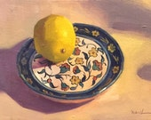 """Art painting still life """"Lemon on a Painted Dish"""" orignial oil on canvas by Sarah Sedwick"""