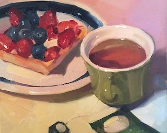 "Kitchen art fruit painting ""Blueberry Tart"" original by Oregon artist Sarah Sedwick 10x10"""