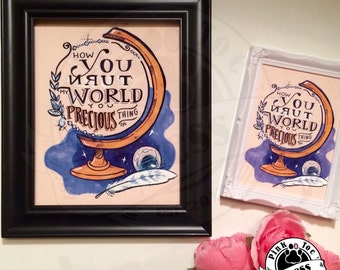You precious thing // Tattoo Art Print with globe, stars, crystal // inspired by Labyrinth // 5 x 7 inch print