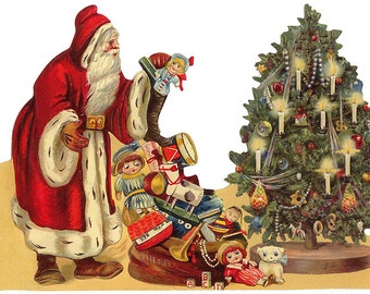 Victorian Santa Claus Scrap Made In Germany Large Lithograph Die Cut Christmas  5177