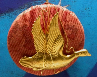 Mariano FORTUNY Mandarin Duck  ORNAMENT Glicine Red Fabric & Vintage  Miriam Haskell RGP Brass Bird