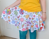 Candy Sweets Skater Skirt - Colorful Rainbow Candy Pattern Skirt - One Size Fits Most Skater Skirt