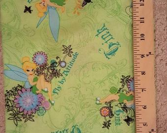 Cute or WHat Fabric TINKERBELL Disney 1/2 yard