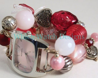 Shabby Chic Valentine.. Pink and Red Interchangeable Beaded Watch Band, Valentine's Day