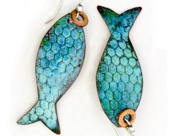 Pisces - Catch of the Day Enameled FishEarrings