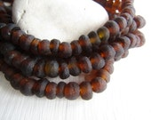Brown Recycled glass beads, rondelle beads , matte frosted beads, irregular uneven beads, indonesia 4 to 6mm x 7 to 8mm (20 beads) 6ak7-8