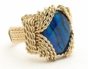 Handmade 14kt Gold Filled Wire Wrap Blue Paua Shell Ring