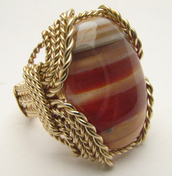 Wire Wrapped Ring Handmade 14kt Gold Filled Red/White Sardonyx Cabochon Gemstone Statement  Ring