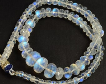 205CT Gem Grade LARGE Rainbow Moonstone Faceted Rondelle Beads 16.8 inch Strand