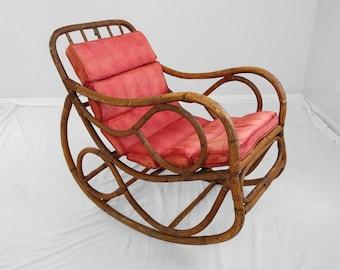 20% SALE 1930s italian Franco Albini style rattan rocking chair FOR RESTORATION