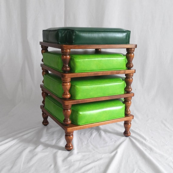4 Ethan Allen Mid Century Stacking Stools