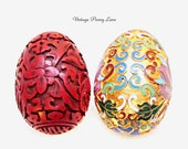 2 Vintage Egg Figurines, Carved Cinnabar, Metal / Enamel