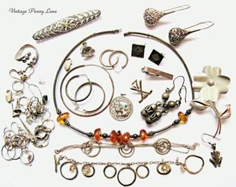 Vintage Scrap Sterling Silver Jewelry / Jewellery, Destash Lot