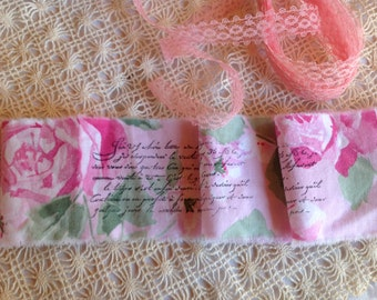 Vintage Hand Stamped Hand Frayed Ribbon  Trim  - Cabbage Roses - French Script - 1 Yard Vintage Lace Included