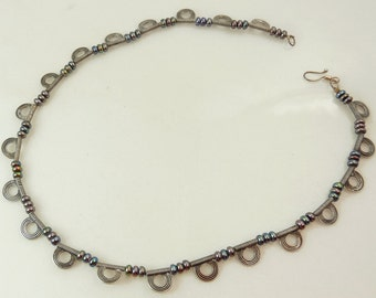 Sterling Silver Freshwater Pearl Necklace Mid Century Design