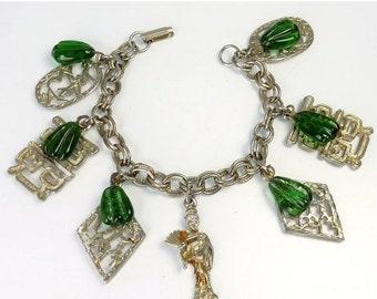 Vintage Japanese Themed Charm Bracelet Costume Jewelry