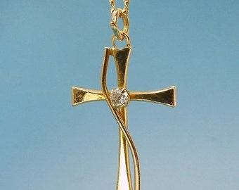 Vintage 14K GF CZ Cross Pendant Necklace