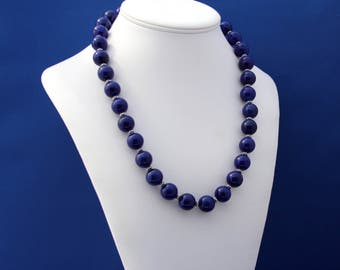 Natural AAA Lapis Lazuli and Thai Hill Tribe Silver Necklace