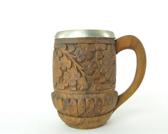 Vintage Hand Carved Wood Beer Mug Cup with Aluminum Insert