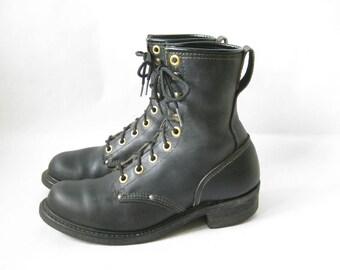 Vintage Double H Black Leather Packer Work Boots. Size 8 1/2 Men's/  10 1/2 Women's