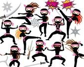 Ninja clipart - ninja clip art girls karate martial arts cute whimsical throwing stars sword katana black pink personal and commercial use