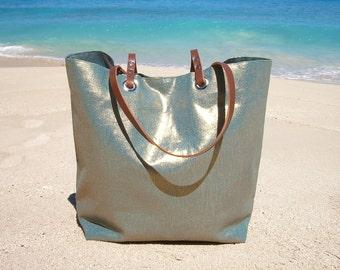 Tote Bag, Beach Bag, Metallic Linen Handbag, Mermaid, Vacation Bag