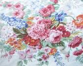 Vintage 1980's  All Cotton Ralph Lauren Queen Size Flat Floral Design Sheet & Matching King Size Pillowcase, Big Garden Flower Bouquets