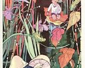 PRINT SALE 20% OFF 1932 Vintage  Illustration, Print, Little Boy Riding a Leaf in Stream, Grasshoppers Watching,  9 x 12, Children