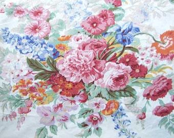 Vintage 1980's  All Cotton Ralph Lauren King Size Flat Floral Design Sheet, Big Garden Flower Bouquets, Cabbage Roses, Delphinium