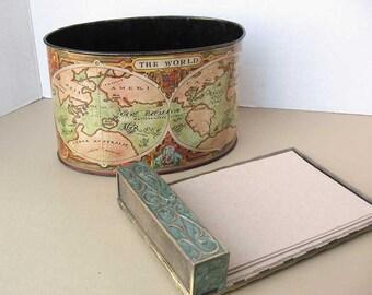 Vintage 2 Piece Metal Desk Top Set, a Tin World Globe Scene Caddy, Enamel on Brass Note Paper Holder, 1980 Vintage, Office, Desk Accessory