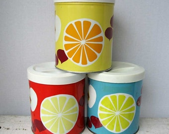 Set of 3  1960's Vintage Red, Turquoise, Yellow w Fruit Imagery Minimal Design Tin Kitchen Storage Containers, Canisters, Kitchen Decor