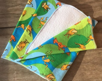 Organic Unbleached Flannel and Bamboo Terry Burp Cloth - Green Mothers Day Gift