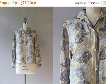 STOREWIDE SALE 1960s Silk Vera Blouse / Vintage 60s Paisley Yin Yang Blouse / Silk Vera Blouse