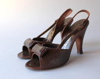 1950s Shoes / Vintage 50s Reptile Heels / 1950s Slinback Pinup Heels