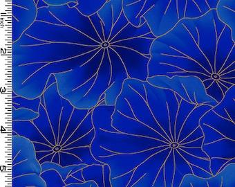 Lotus Leaves Cobalt Gold Metallic Kona Bay Fabric 1 yard