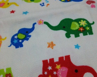 Set of 5 pieces Japanese Cotton Fabric Colorful Elephants Glitter