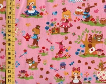 Half Yard Japanese Cotton Fabric Canvas Alice in Wonderland 4 colors to choose FREE SHIP to USA
