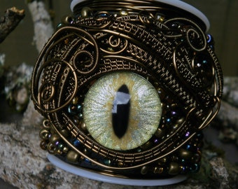 Gothic Steampunk Beaded Eye Bracelet Cuff Size 6 1/2 or less