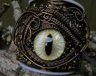 Gothic Steampunk Beaded Eye Bracelet Cuff Size 6 1/2 or less