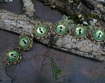 Gothic Steampunk Green Evil Eye Adjustable Bracelet