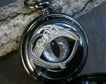 Gothic Steampunk Black Pocket Watch with Silver Eye