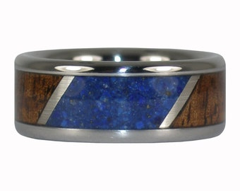 Koa Wood and Blue Lapis Stone Ring