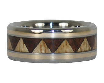 Wood and Gold Tribal Ring Band