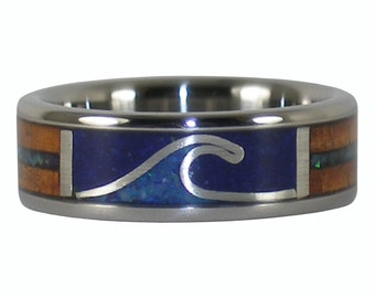 Surfer Ring with Blue Opal Wave Koa Wood and Lapis