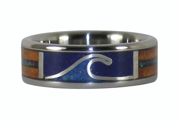 Surfer Wave Wood Lapis and Opal RIng