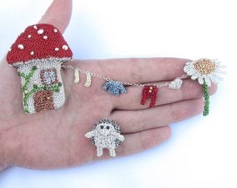 Hedgehog brooch - hedgehog, mushroom house, daisy and miniature clothes line brooch set, cute hedgehog jewelry