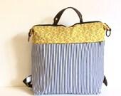 Cotton striped convertible backpack,canvas backpack,vegans backpack, school backpack,hippie backpack, rucksack backpack, boho backpack